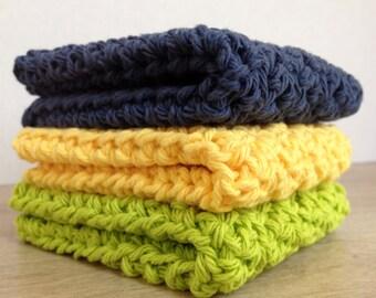 Three 100% Cotton Washcloths
