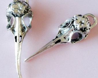 Bird Skull antique silver tone