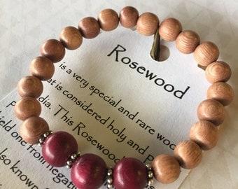 Genuine Natural Rosewood Bracelet Healing Crystals Gemstones Calming Zen Reiki Meditation Yoga Metaphysical Spiritual Christmas Gift
