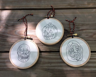 Halloween III: Season Of The Witch masks embroidery hoop decoration. Halloween decoration.