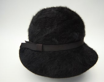 VINTAGE KANGOL HAT | 1960s Black wool angora. Made in England