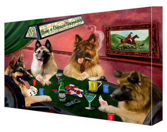 House of German Shepherds Dogs Playing Poker Canvas (11x14)