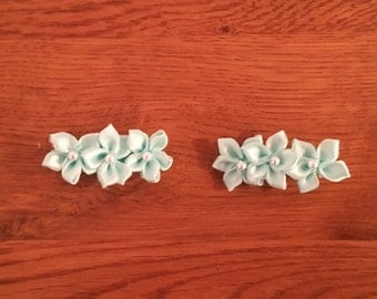 Infant Hair Clips,Handcrafted Hair Clips,Turquoise flowers with crystal accent in center. Turquoise fabric covered alligator hair clip