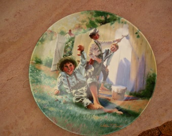 "William Chambers Series, Mark Twain, Tom Sawyer's ""White Washing The Fence"" Decorative Plate"