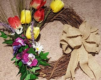Tulip grapevine wreath