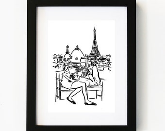 Lovers in Paris Print, Illustration Art Print, Room decor, Gifts For Her, Wall Art, Poster