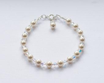 Hannah Bracelet - Swarovski Pearls & Crystals with Sterling Silver