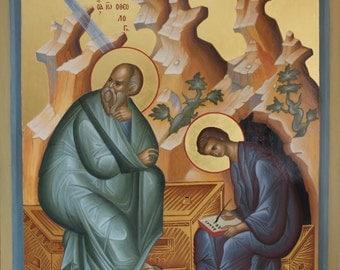 Orthodox icon the Holy Evangelist John with Prochorus a copy of Andrei Rublev св. Иоанн с  св. Прохором