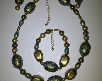 Sassy Brass and Teal 3 piece Necklace Set