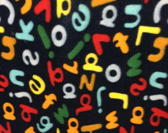 Alphabet and Numbers Print Fleece Fabric by the Yard by the yard