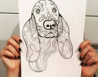 Basset Hound Dog A4 A5 illustration, print, art, dog print, dog drawing, basset hound illustration, basset hound drawing