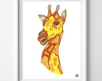 Giraffe A4 A5 illustration, print, art, giraffe,nature print, animal drawing, giraffe illustration, giraffe drawing