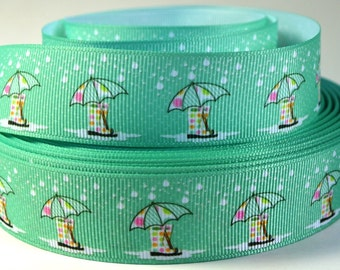 """1"""" Umbrella, Boots and Rain Drops - Printed Grosgrain Ribbon"""
