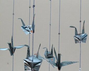 Blue Oriental Origami Crane Mobile