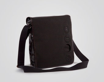 Cordura pouch with Holearound and genuine leather-100% Made in Italy-Black/Black