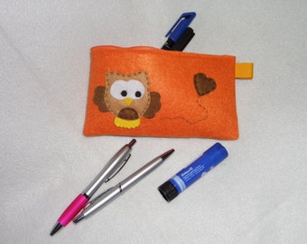 Orange pouch with Brown OWL