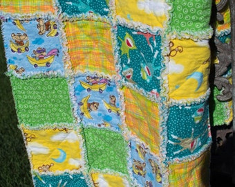 Boy monkey rag quilt 39''x50''