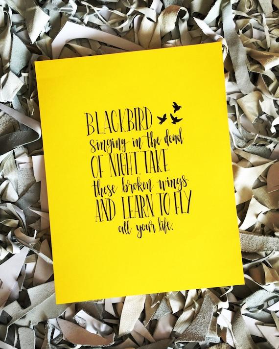 Blackbird | 9 X 12 Bristol Print | Handmade Calligraphy | Watercolor | Geometric | Art | Custom | Wedding Gift