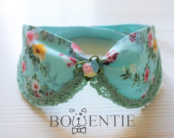 Teal Green Flowery Peter Pan Collar Dog Bandana