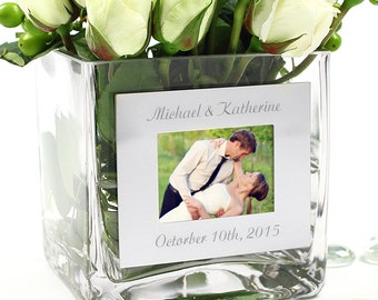 Square Glass Vase with Photo Frame - Free Personalization - WS4912P
