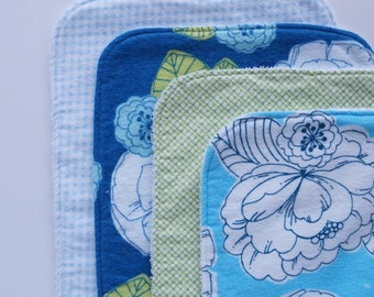 Floral Contoured Burp Cloths: Set of Four