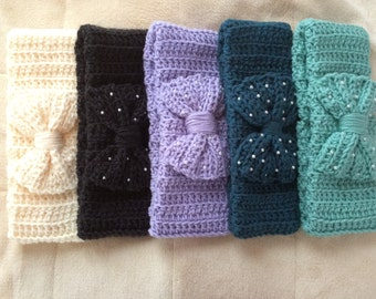Crocheted Ear Warmer - Chunky Lavender with Bow