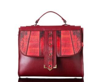 Ring of Fire | Handmade, Genuine Leather Bag, Backpack, Print