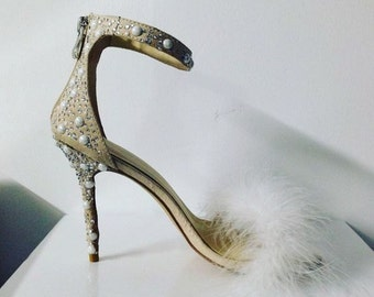 women's wedding|High heels | custom Heels|feathers style |white