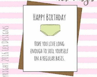 Funny insulting birthday blank greeting card hilarious humour hand drawn card
