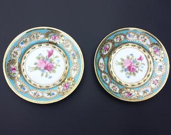 Vintage Saucer, Set of 2 Vintage Saucers, Floral Saucer, Porcelain Saucer, Made in Japan
