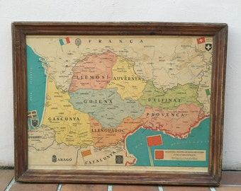 French Vintage Poster France Map Occitan vintage