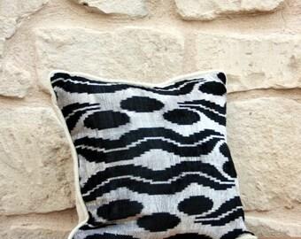 Black Velvet Ikat Pillow Cover - Black White Pillow Soft Handwoven Velvet Decorative Throw Black White Ikat Pillow Bohemian Home Decor