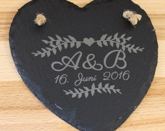 Personalised Slate Wedding Heart Sign, wedding gift / anniversary present / personalised gift / wedding present / anniversary gift / decor