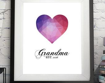 Grandma Art Print, Grandma Gift, Gifts for Grandma, Grandma to Be, New Grandma Gift, Personalized Grandmother Gift, Pregnancy Annoucement
