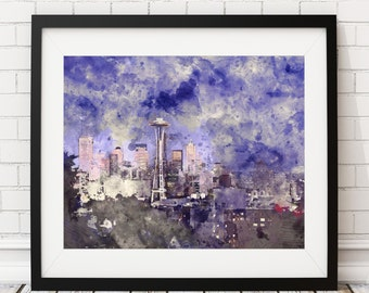 Seattle Skyline Print, Seattle Print, Seattle Art, Watercolor Painting, Seattle Watercolor Skyline Painting, Cityscape Print, New Home Gift
