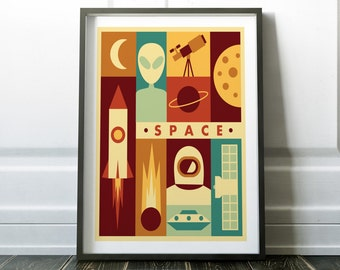 Space Poster, Retro Space Print, Wall Art Print, Minimalist Space, Prints, Wall Art, Modern Poster, Space Print, Minimalist Print, Poster