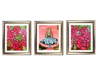 Alice In Wonderland Abstract Art, Alice in Wonderland Painting, Alice Wall Art Prints, Painting the Roses Red, Alice in Wonderland Decor
