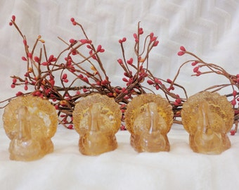 Set of 4 Amber Glass Vintage Turkey Taper Candle Holders