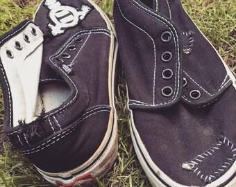 Vans patched vegan black canvass skate shoes