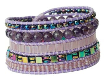 Purple Multi-row Wrap Cuff