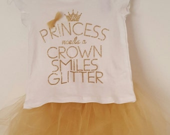 Gold princess tutu set