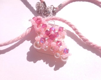 petite croix swarovsky et son cordon ciré rose -  swarovsky small cross and pink wax cord