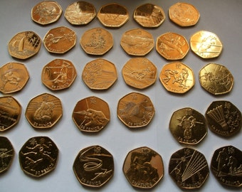 24ct gold plated 2012 London Olympic games 50p Full commemorative Coin collection set of 29