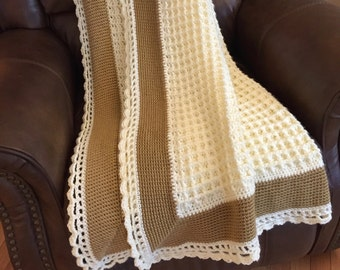 New Handmade Crochet Lacy Cream & Gold Afghan
