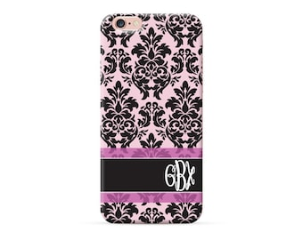 Soft Pink with Black Damask iPhone 6 case, monogrammed cover for iphone 7 iphone 6s iphone 6s plus iphone SE personalised case with initials