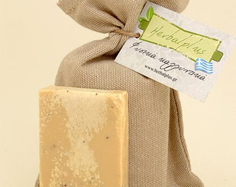 Natural soap with olive oil, donkey milk and seaweed