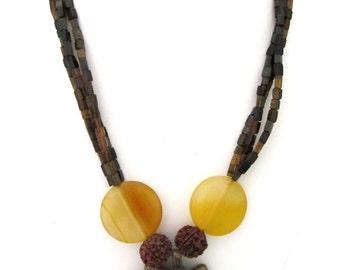 Natural Petro Tourmaline & Yellow Jade with Metal Pendant Necklace - AJS383