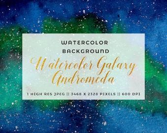 Navy Blue Watercolor Galaxy Clipart, Starry Night Sky, Universe, Space, DIY Blue Green Watercolor Wedding Invitation, Texture, Digital Paper