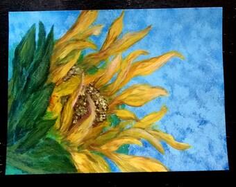 Sunflower - Sundrop by NKatko Original Acrylic 9x12 Canvas Paper