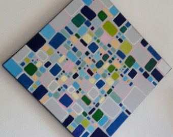 """Acrylic painting """"Retro"""", abstract art on canvas, shipping, communications, signed directly by the artist, 40 x 40 x 2 cm"""